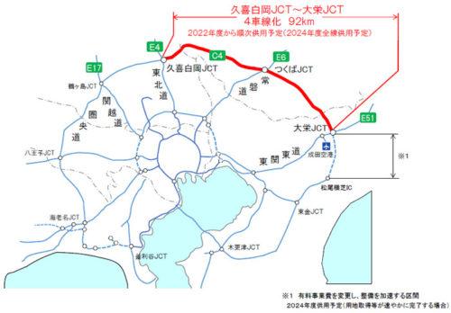 20180330nexcoe 500x348 - 圏央道の久喜白岡JCT~大栄JCT(92km)/四車線化