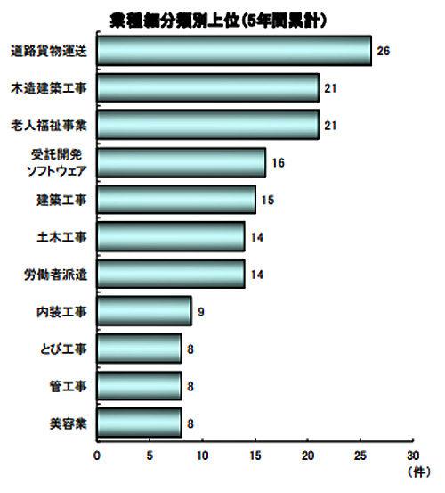 業種細分類別上位(5年間累計)