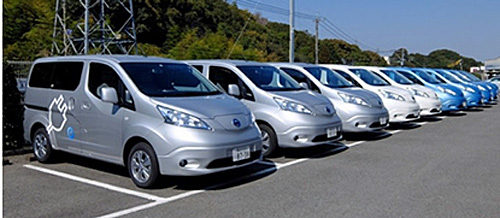 日産電気自動車「e-NV200」10台導入普段は従業員が通勤に利用し、工場で充電