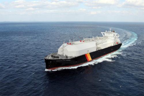 20180419nyk 500x334 - 日本郵船/三菱商事向けのサヤリンゴ型新造LNG船を命名