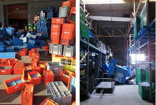 地震時の工場・倉庫内の様子