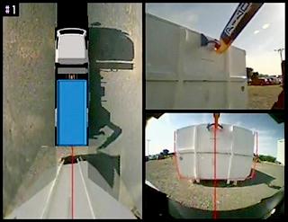 3分割画面(俯瞰映像、キャッチング確認映像、後方映像)