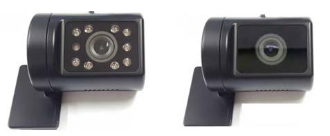 新開発の通信型ドライブレコーダー カメラ部(左:車内、右:車外)