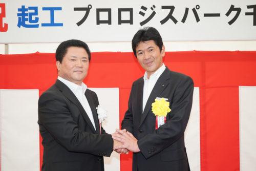 プロロジスの山田社長(左)とアズワンの井内社長