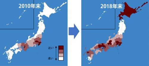 都道府県別にみたAmazon配送センター(FC)からの平均輸送距離