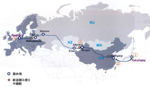横浜からハンブルグまでのルート図
