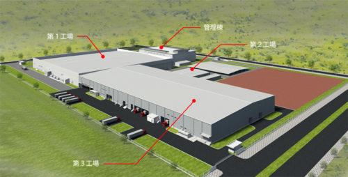ベトナム工場全景のパース図(手前の建屋が第3工場)