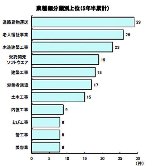 業種細分類別上位(5年半累計)