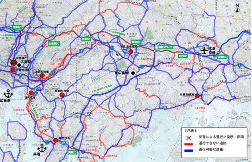 広島市・呉市周辺の「通れるマップ」(2018年7月10日18時現在)
