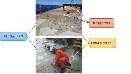乗組員による甲板上のさび落とし作業(現在の様子)