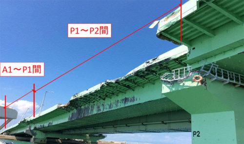 橋桁の損傷状況
