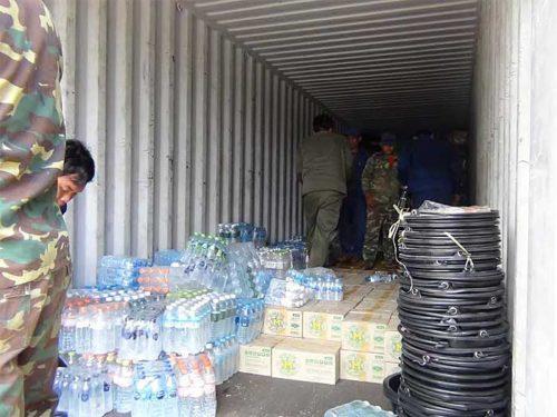 無償輸送された支援物資