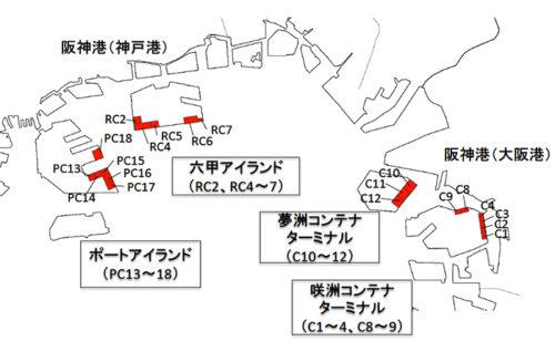 阪神港国際コンテナターミナル位置図