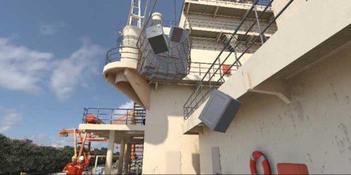 クレーン吊り荷落下のVR画面