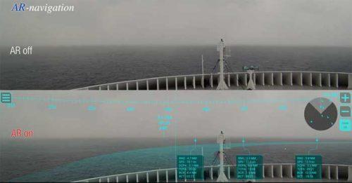 航海情報のAR表示on/off比較(日中)