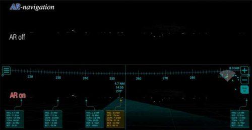 航海情報のAR表示on/off比較(夜間)