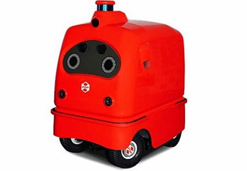 ブースに展示されている物流支援ロボット「CarriRo Delivery」