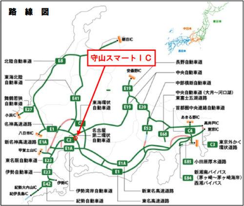 守山スマートICの路線図