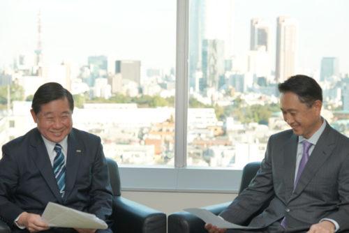 パスコの島村社長(左)、ナビタイムジャパンの大西社長