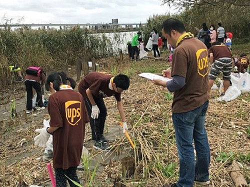NPO 法人「荒川クリーンエイド・フォーラム」主催の「トビハゼ救援クリーンエイド」で荒川のゴミ拾いをするUPS社員とその家族