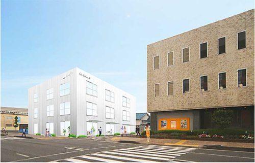 本社ビル別館 外観完成イメージ(写真左、白色の建物)