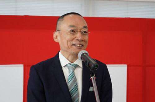 竣工式での中本昭人不動産投資開発事業部長