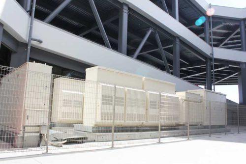 ランプウェイ中央部に設置した非常用発電機