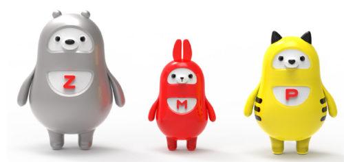 イメージキャラクター3種類 左からZEO(ゼオ)、MOW(モー)、POW(パオ)