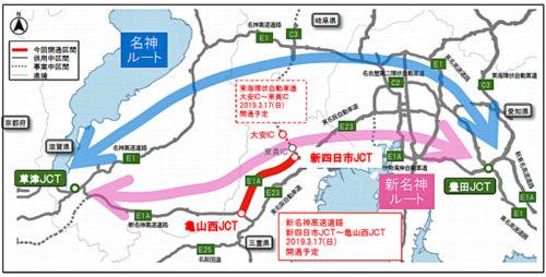 愛知県(豊田JCT)~滋賀県(草津JCT)のダブルネットワーク