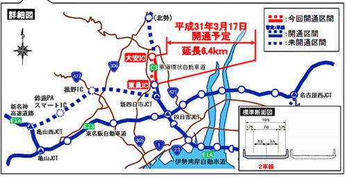 20190206nexcoc21 500x255 - 東海環状自動車道/大安IC~東員IC間が3月17日開通