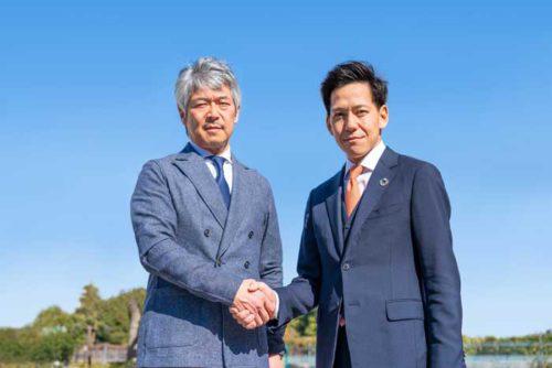 エアロネクストの田路圭輔代表取締役CEO(左)、小橋工業の小橋正次郎社長(右)
