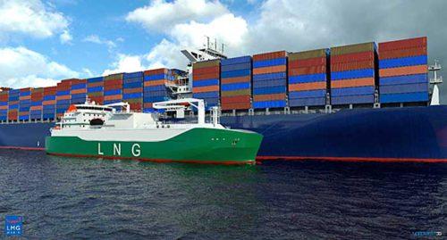 コンテナ船へLNGを供給するLNG燃料供給船のイメージ図