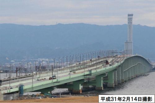 2月14日撮影の関西国際空港連絡橋(国交省)