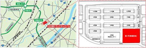 北大阪トラックターミナルの位置図と拡大図