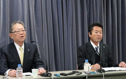 SGHDの町田公志社長(左)と佐川急便の荒木秀夫社長