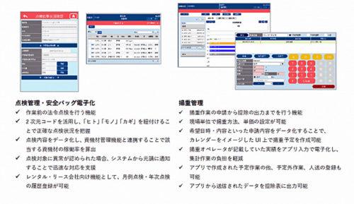 主な機能 点検管理・安全バッグ電子化、揚重管理