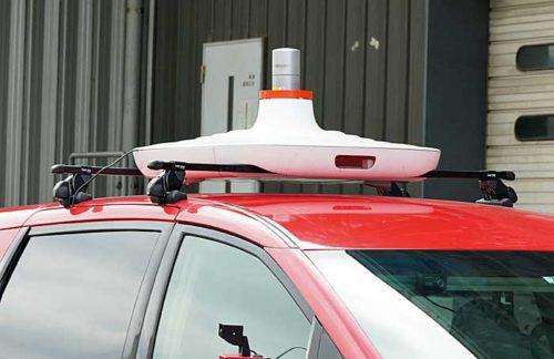 車体上部に搭載されたセンサー
