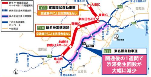 東海環状道の交通状況