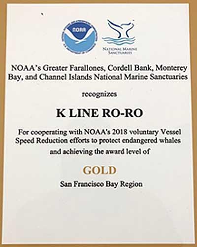 20190614kline1 - 川崎汽船/米国海洋大気庁から北米西岸海域の環境保護で表彰