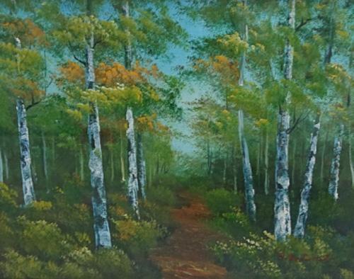 荒木社長から贈呈されるグリーン絵画