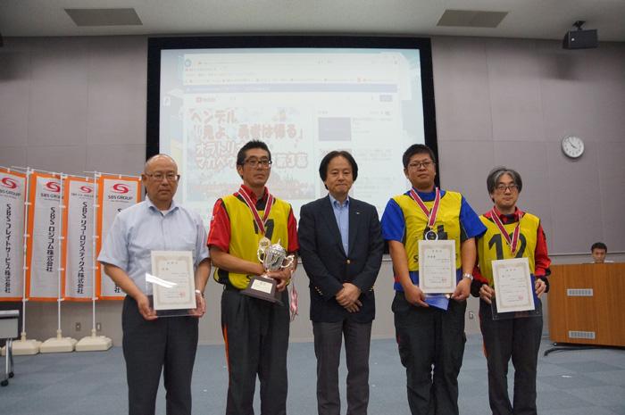入賞者 左から西江選手、高橋選手、田辺選手