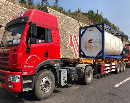 20191008maruun - 丸運/輸送距離474km、中国・天津港からタンクコンテナ陸送