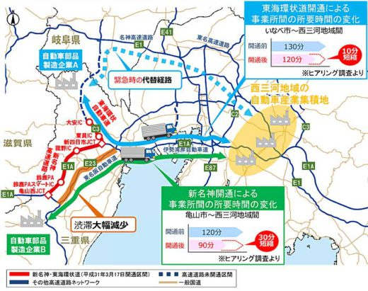 20191011nexconakanihon1 520x411 - NEXCO中日本/新名神、東海環状道開通でメーカー物流効率化