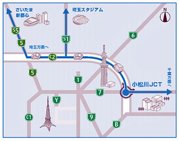 小松川JCTの位置図