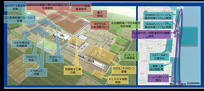 飛行経路図(左)、福島ロボットテストフィールドエリア(右)、海岸エリア)