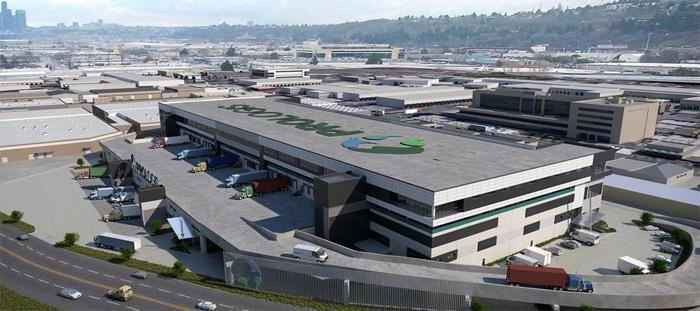 米国ワシントン州シアトル市ジョージタウンのプロロジスの物件。米国では前例がないランプウェイを備えた多層階の施設となるため、日本法人が設計に協力している