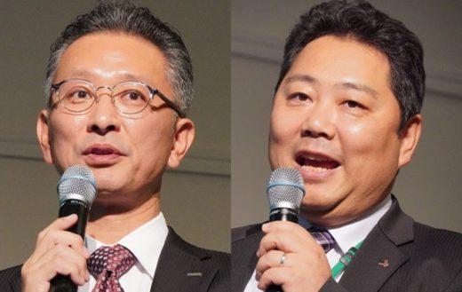 タナックスの平岡秀教部長(左)、トラスコ中山の直吉秀樹本部長(右)