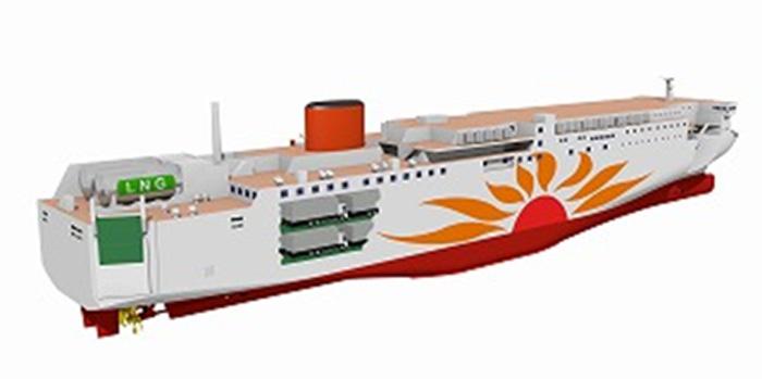 LNG燃料フェリーのイメージ図