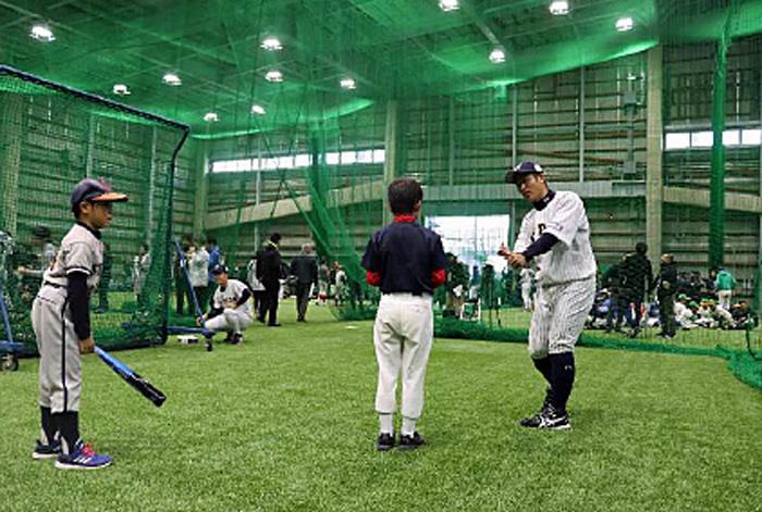 日通野球部による打撃指導