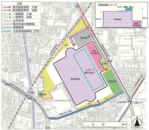 20191129daiwa 520x455 - 大和ハウス/川崎市中原区の三菱ふそう工場跡に21万m2物流施設